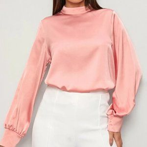 Pink Mock Neck Satin Blouse in XS